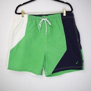 Nautica Color Block Green Swim Trunks
